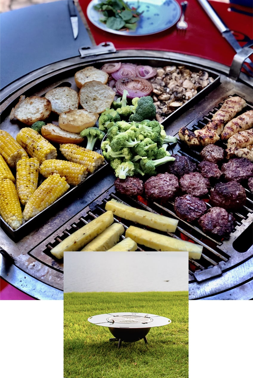 The grill combo with a variety of vegetables and meat cooking simultaneously. Another image of the grill combo is superimposed on the bottom center of the image.