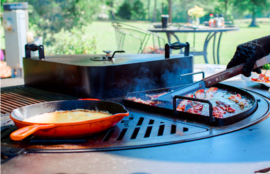 Rotating Grill Grates and Partial Hoods