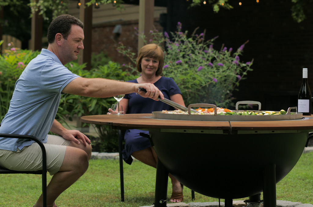 Romantic Dinner around the Fire Pit Grill