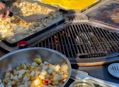 A variety of items being cooked on a Stainless Steel Griddle Pans
